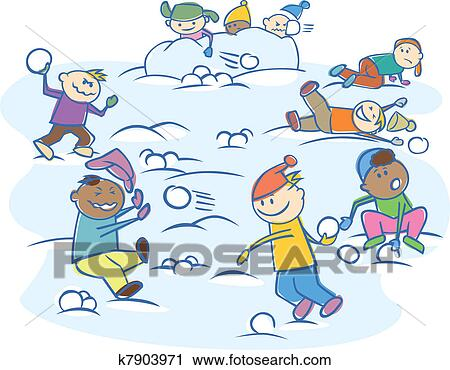 Clipart kinder spielender schneeballen freigestellt k7903971 suche clip art illustration - Kinder wandbilder ...