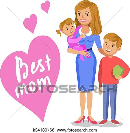 Clip Art of Mother and her children, smiling mom and kids ...