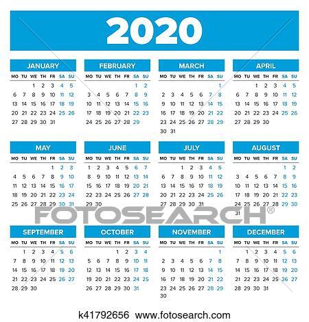 剪贴画 - 简单, 2020, 年, 日历