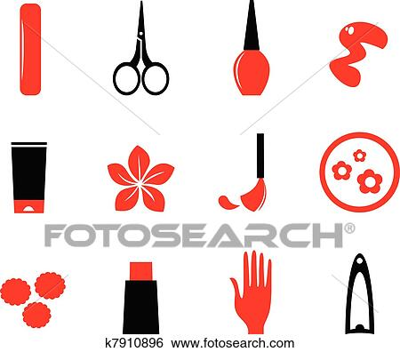 clip art of manicure cosmetics and beauty icons isolate on white rh fotosearch com manicure clipart images manicure clip art free