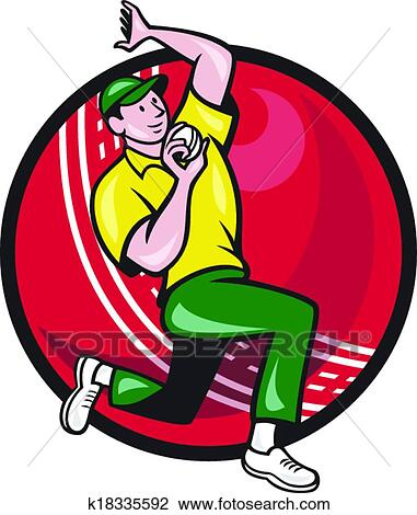 Clipart of Cricket Fast Bowler Bowling Ball Side k18335592 ...