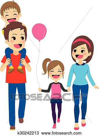 clipart of happy family walking k30242213 search clip art rh fotosearch com happy family clipart png happy family day clipart