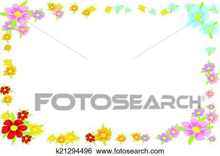 Clip Art - blumen-, frühling, rahmen k21294496 - Suche ...