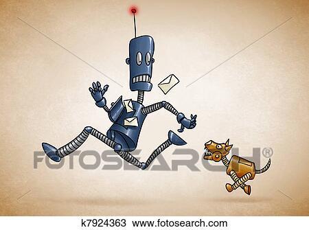 Robotic Dog Drawing Drawing Postman Robot And