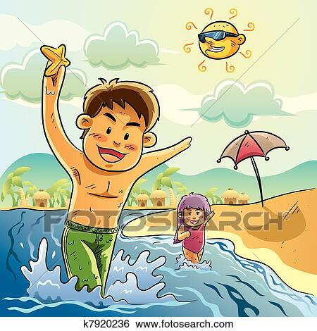 Clip Art Of Kids Play On The Beach K7920236