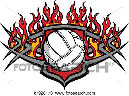 clipart of volleyball ball template with flame k7928173 search rh fotosearch com volleyball graphic design volleyball graphics for t shirts