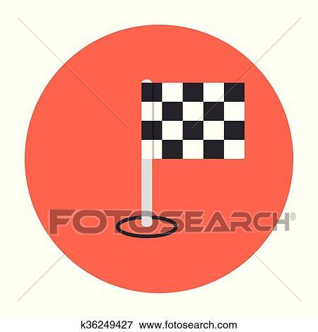 结束, 旗, icon., 竞争, 符号., the, 终点线