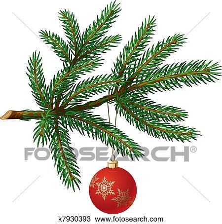剪贴画 松树, 分支, 带, 圣诞节球