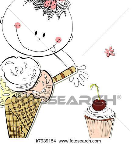 剪贴画 女孩, 带, 冰淇淋