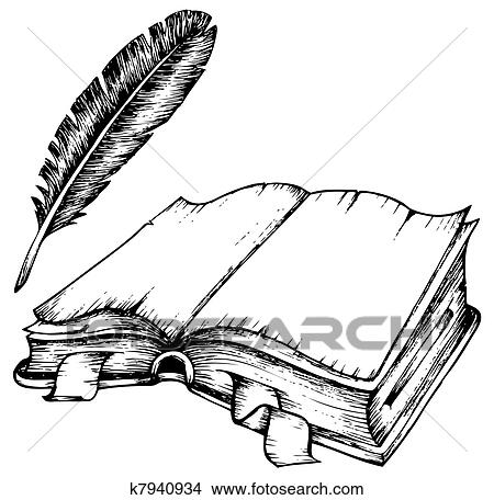 clipart of drawing of opened book with feather k7940934 search rh fotosearch com clipart drawings the scroll and the lamb clipart drawings the scroll and the lamb