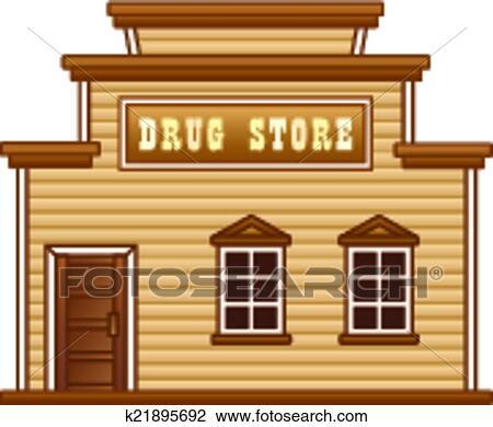 Clipart of wild west drug store building k21895692 - Dessin saloon ...