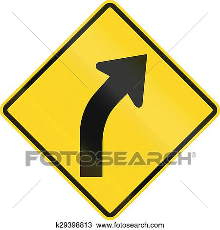 Drawing Of Right Curve Ahead In Canada K29398813 Search Clipart