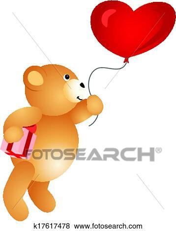 Clip Art of Love Teddy Bear Flying on Balloon k17617478 - Search ...