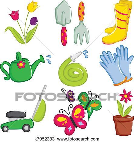 剪贴画 春天, 园艺, 图标