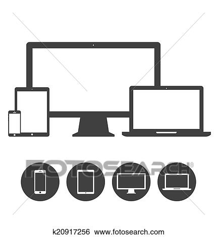 Clip Art of Set of display, laptop, tablet and mobile phones ...