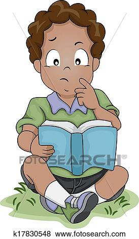 Clip Art Of Thinking African American Boy K17830548
