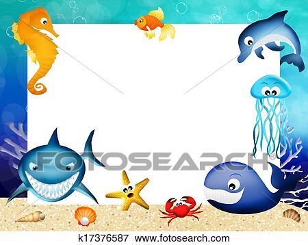 Archivio illustrazioni animali marini cornice k17376587 - Clip art animali marini ...