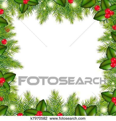 Clipart of winter border with christmas tree and holly berry