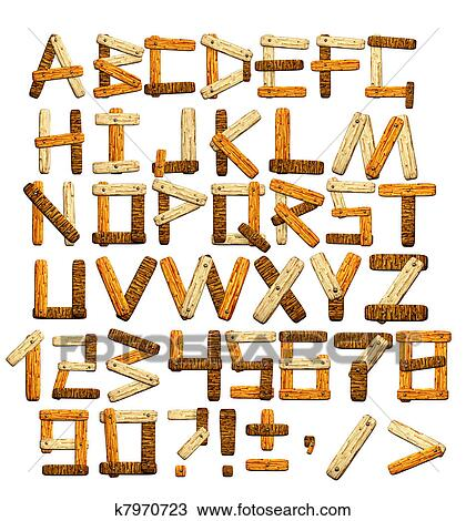 手绘图 - 竹子, 字母表