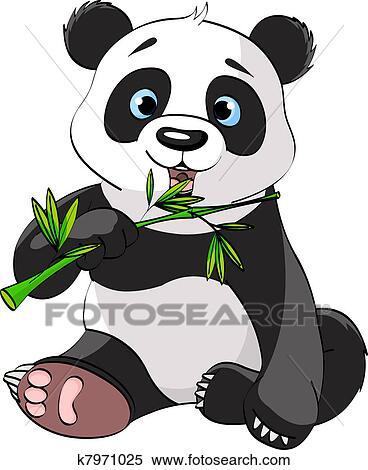 剪贴画 熊猫, 吃, 竹子