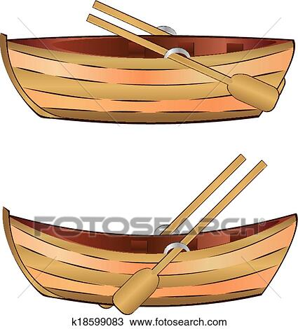 Clipart Of Wooden Boat K18599083
