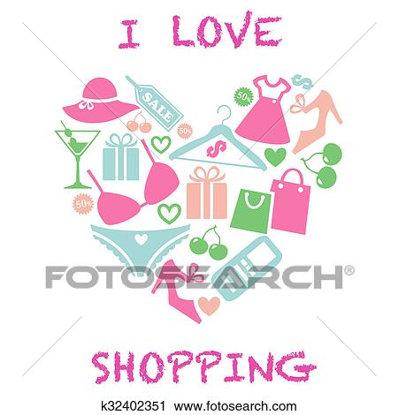 Shopping girl vector illustration in the ai file