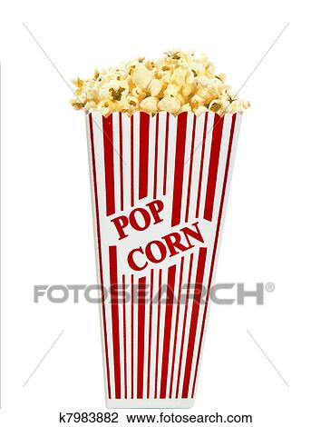 Stock Photo of Red and white popcorn box isolated k7983882 ...