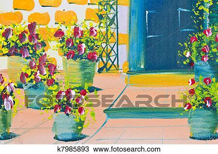 手绘图 海报, 颜色, 图, 花