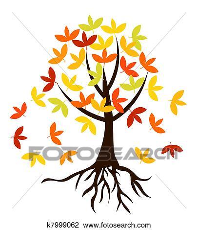 剪贴画 - 秋天, 树, 带, 根图片