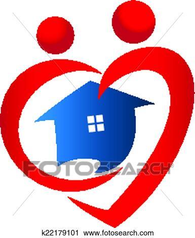 Clipart cuore figure con icona casa vettore disegno for Clipart cuore