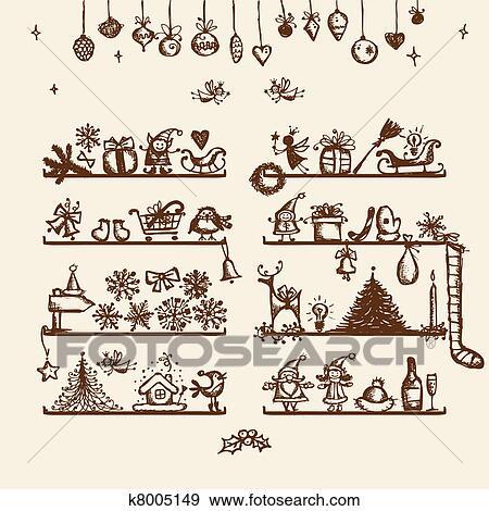 clip art weihnachten laden skizze zeichnung f r. Black Bedroom Furniture Sets. Home Design Ideas