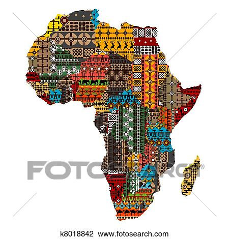 Clip art of africa map with countries made of ethnic textures africa map with countries made of ethnic textures gumiabroncs Choice Image
