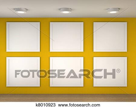 Drawing of illustration of a empty museum with 6 empty frames 3d illustration of a empty museum with 6 frames sciox Images