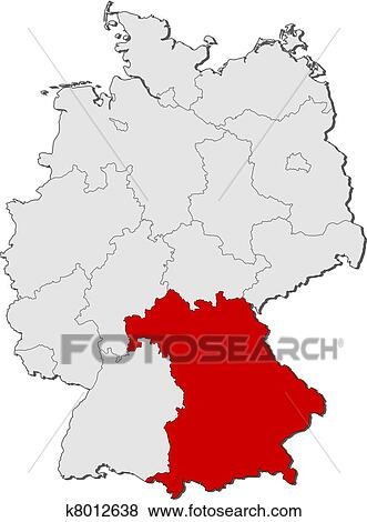 Clip art of map of germany bavaria highlighted k8012638 search clip art map of germany bavaria highlighted fotosearch search clipart illustration gumiabroncs Image collections