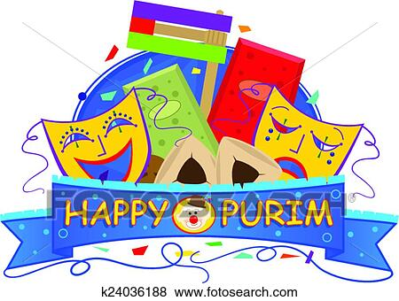 clip art of mask purim banner k24036188 search clipart rh fotosearch com happy purim clipart purim clipart free