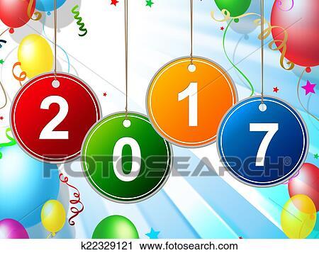 剪贴画 - 新年, 手段, 两千, 十七, 同时,, 庆祝.图片