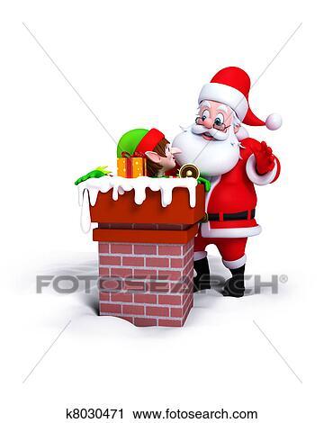 剪贴画 圣诞老人, 带, 淘气小鬼, 在中, 烟囱