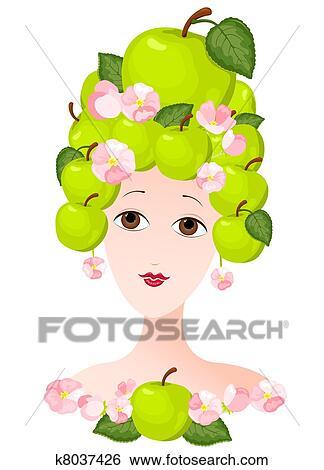 剪贴画 - 苹果, 女士