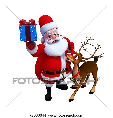 drawing santa claus with reindeer fotosearch search clip art illustrations wall posters - Santa With Reindeer