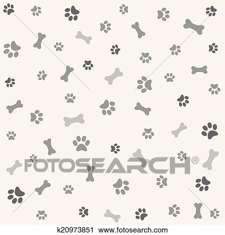 Clipart of Background with dog paw print, bone k20973851 - Search ...