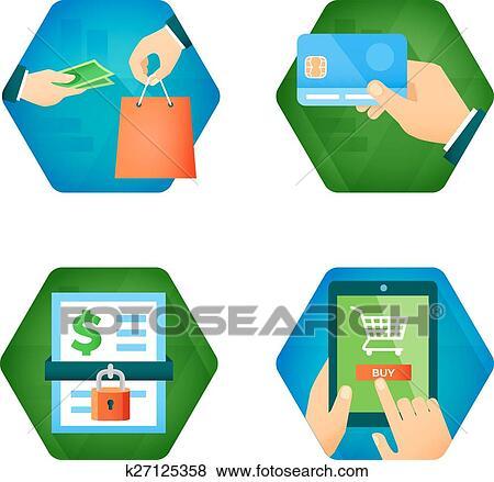 Online Shopping Clip Art Card