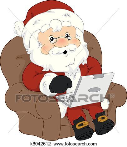 剪贴画 - 圣诞老人, 笔记本电脑