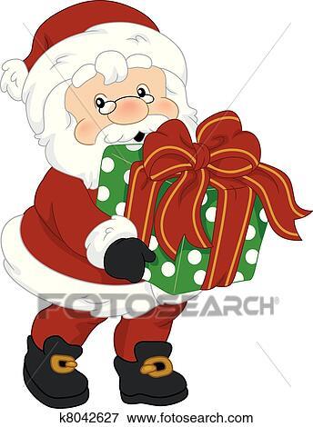 剪贴画 - 圣诞老人, 礼物