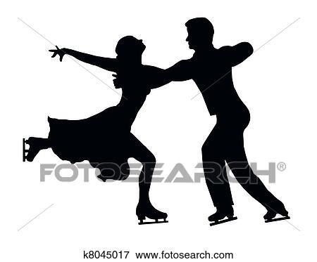 Clip Art of Silhouette Ice Skater Couple Embrace Back Kick ...