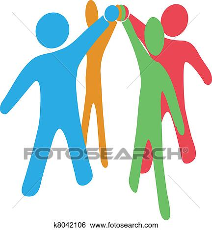clip art of people collaborate team up join hands together k8042106 rh fotosearch com Its Playtime Clip Art Thinking Clip Art