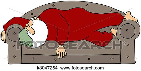 couch drawing. Drawing - Santa Sleeping On A Couch. Fotosearch Search Clip Art Illustrations, Wall Couch D