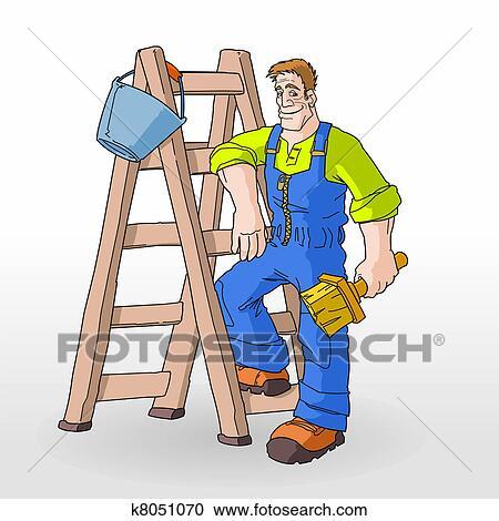 绘画, 带, 梯子