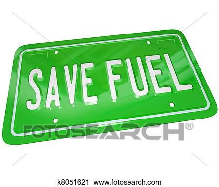 Clipart of Save Fuel Green License Plate Earth Friendly ...
