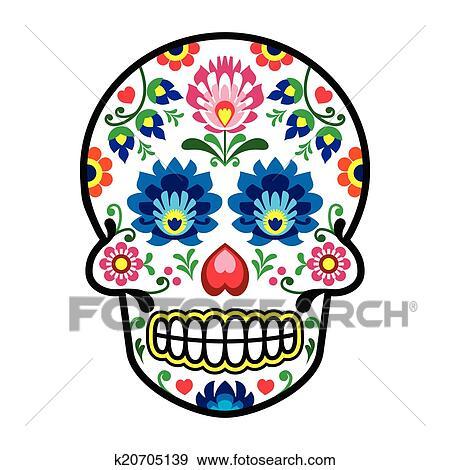 clip art of mexican sugar skull polish folk k20705139 search rh fotosearch com sugar cube clipart sugar clip art free