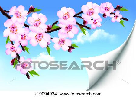 Clipart of spring background of a blossoming tree branch with spring clipart spring background of a blossoming tree branch with spring flowers vector mightylinksfo Gallery